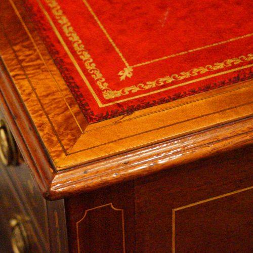 Edwardian inlaid writing table corner