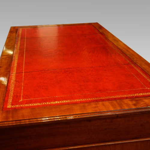 Edwardian mahogany pedestal desk 153cms wide leather top