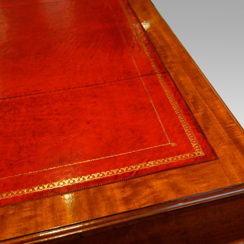 Edwardian mahogany pedestal desk 153cms wide leather top detail