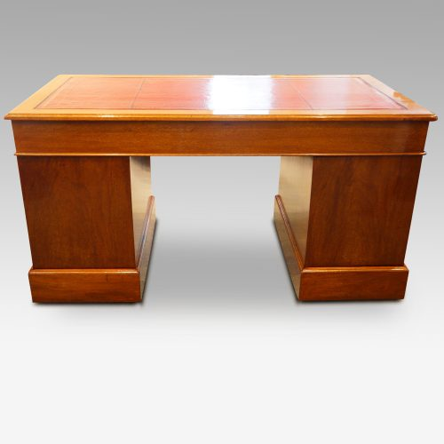 Edwardian mahogany pedestal desk 153cms wide rear view