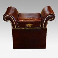 Edwardian simulated crocodile leather dressing stool