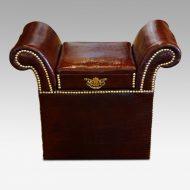 Edwardian simulated crocodile leather dressing stool