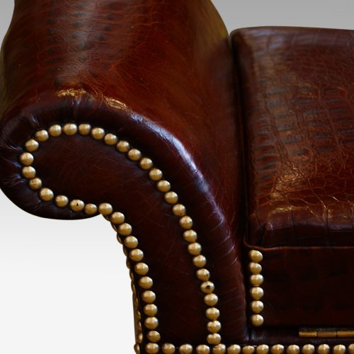 Edwardian simulated crocodile leather dressing stool arm detail