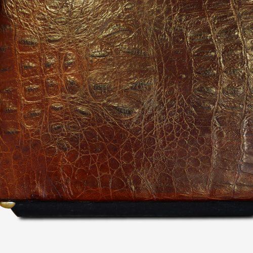Edwardian simulated crocodile leather dressing stool detail