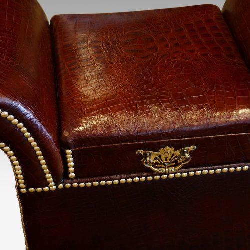 Edwardian simulated crocodile leather dressing stool handle