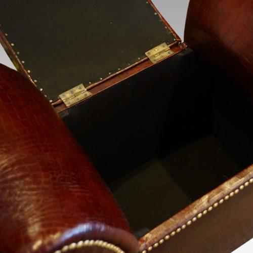 Edwardian simulated crocodile leather dressing stool interior