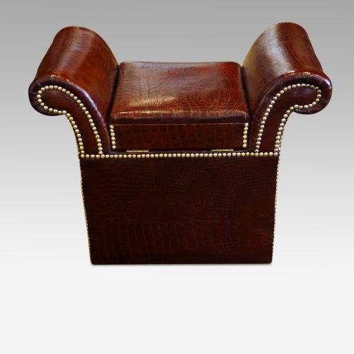 Edwardian simulated crocodile leather dressing stool rear