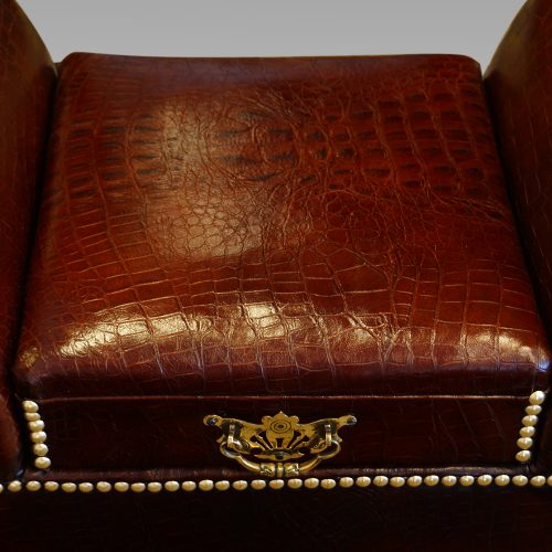 Edwardian simulated crocodile leather dressing stool seat