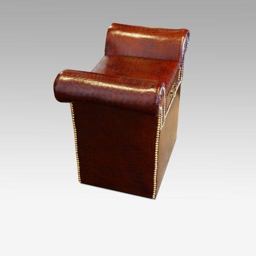 Edwardian simulated crocodile leather dressing stool side