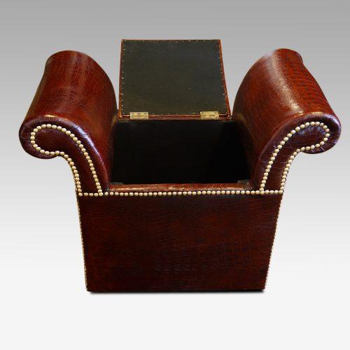 Edwardian simulated crocodile leather dressing stool seat open