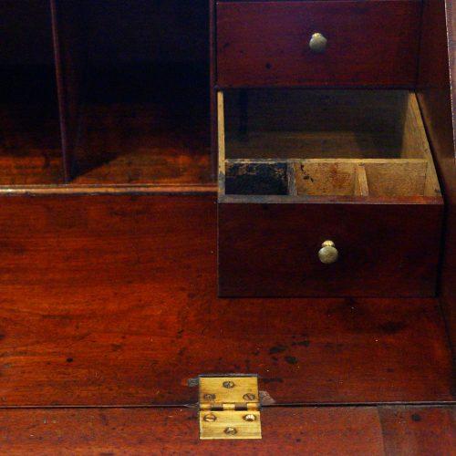 George III mahogany bureau interior ink bottle drawer