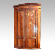 Georgian bow front mahogany hanging corner cabinet,1