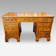 Georgian style walnut pedestal desk