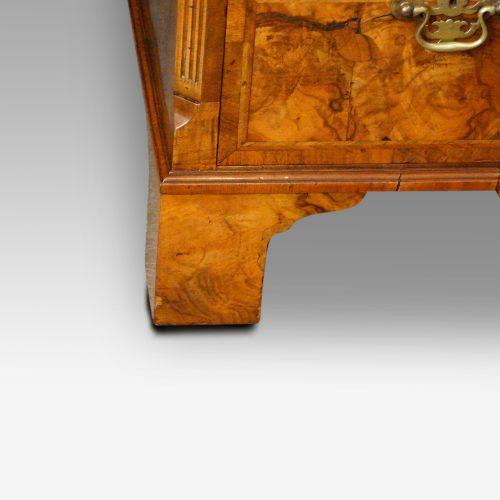 Georgian style walnut pedestal desk bracket foot