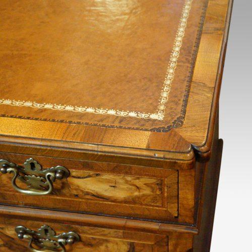 Georgian style walnut pedestal desk corner