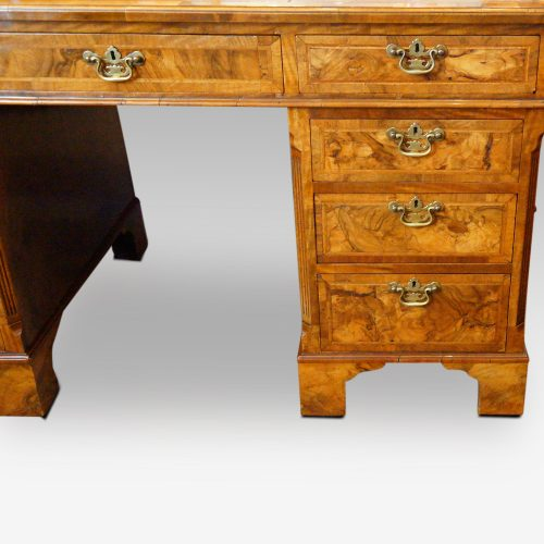 Georgian style walnut pedestal desk drawers