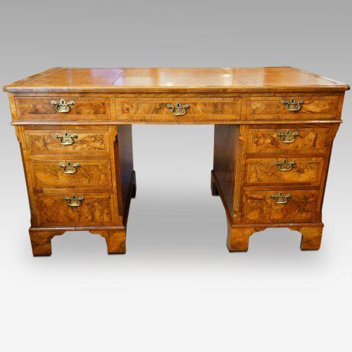Georgian style walnut pedestal desk front