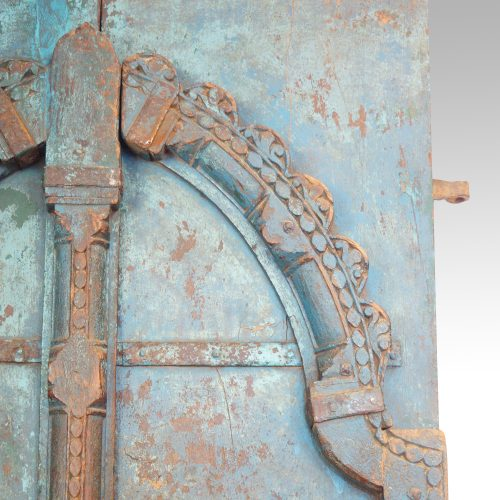 Indian carved teak doors with original paint arch detail