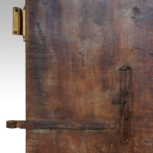Indian carved teak doors with original paint rear detail
