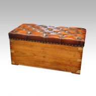 Large Victorian camphorwood ottoman rear