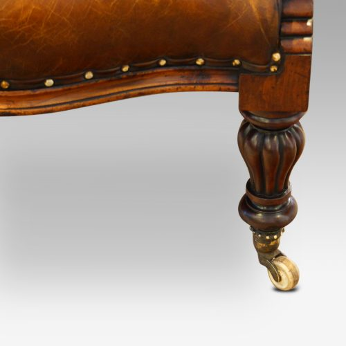Victorian buttonback leather reading chair leg