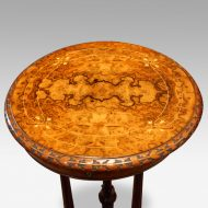 Victorian inlaid walnut circular workbox top