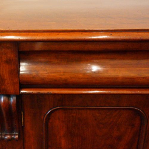 Victorian mahogany waterfall drawer chiffonier drawer detail