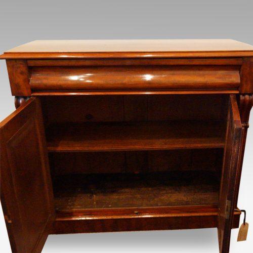 Victorian mahogany waterfall drawer chiffonier interior