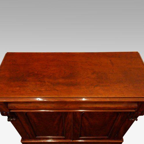 Victorian mahogany waterfall drawer chiffonier top detail