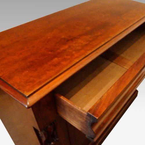 Victorian mahogany waterfall drawer chiffonier drawer open