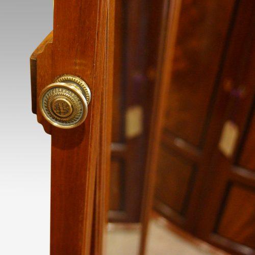 1930s walnut cheval dressing mirror knob to adjust
