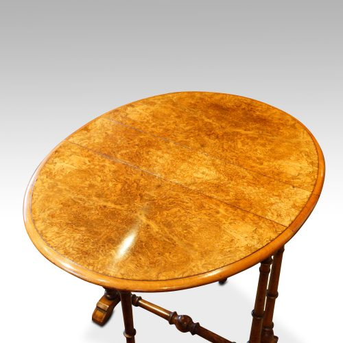 Victorian burr walnut baby Sutherland table top view