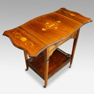 Edwardian inlaid rosewood dropflap table angle view