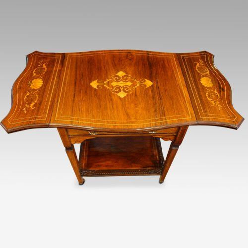 Edwardian inlaid rosewood dropflap table flaps up