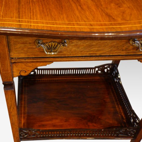 Edwardian inlaid rosewood dropflap table handle