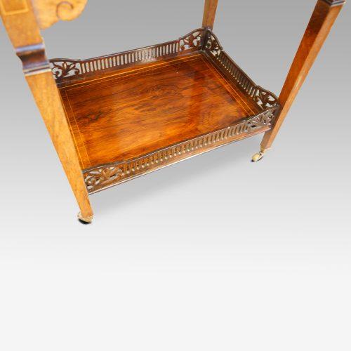 Edwardian inlaid rosewood dropflap table shelf