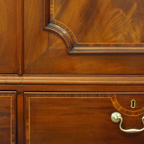 George III mahogany linen press door panel moulding