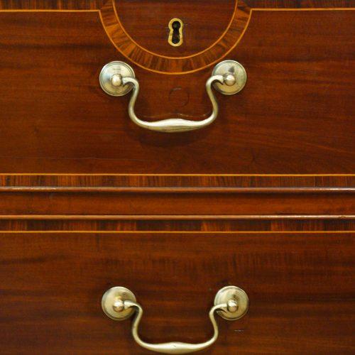 George III mahogany linen press swan neck handles