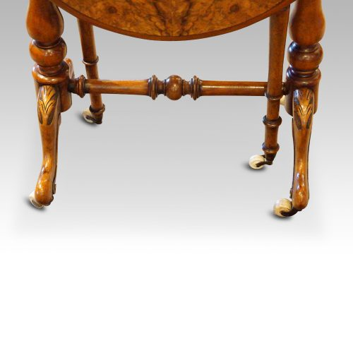 Victorian burr walnut baby Sutherland table closed