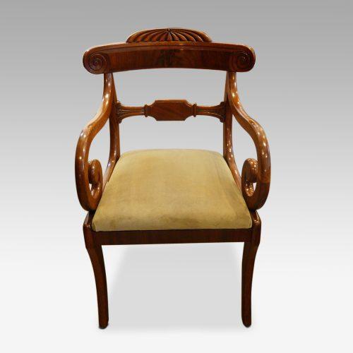 William IV mahogany scroll arm desk chair
