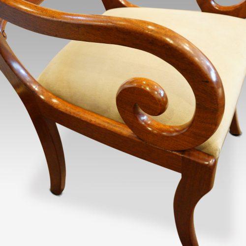 William IV mahogany scroll arm desk chair arm