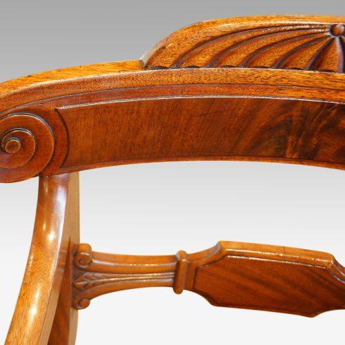 William IV mahogany scroll arm desk chair centre splat