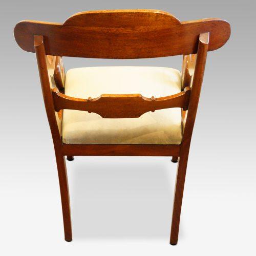 William IV mahogany scroll arm desk chair rear