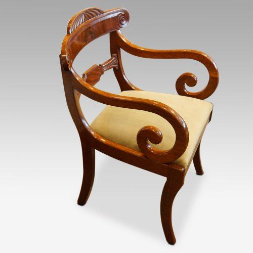 William IV mahogany scroll arm desk chair side