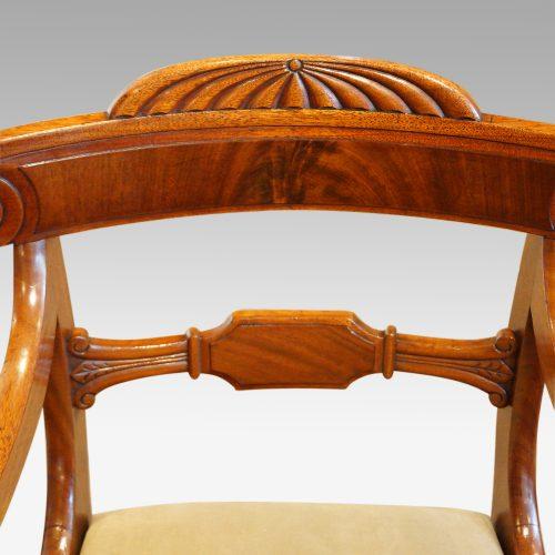 William IV mahogany scroll arm desk chair toprail