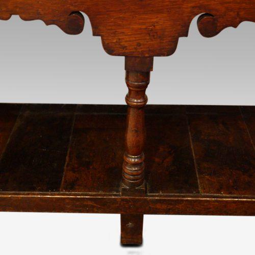 Antique oak cottage dresser cornice front turning