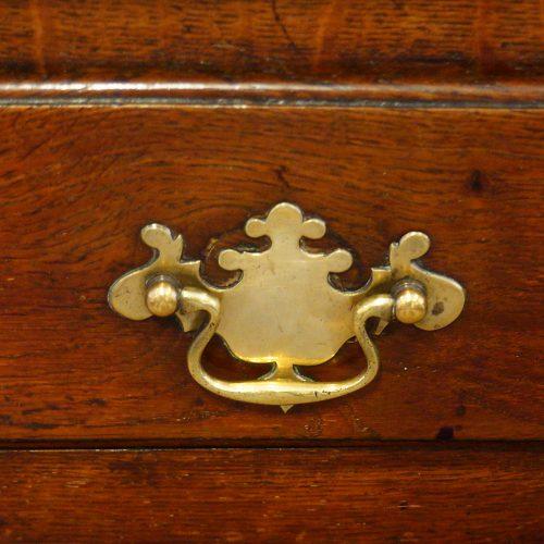 Antique oak cottage dresser cornice brass handle