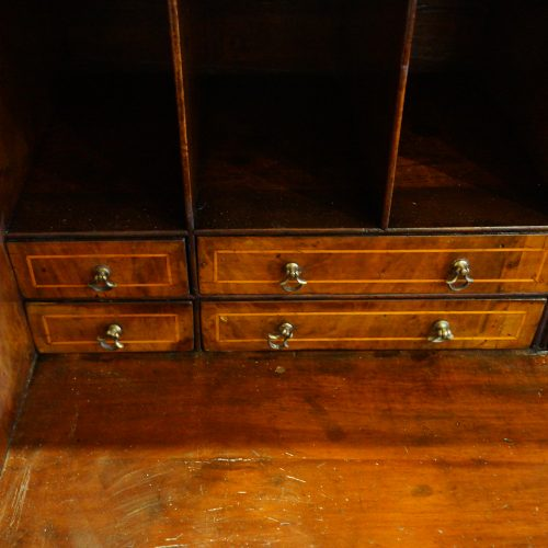 Georgian walnut bureau interior drawers