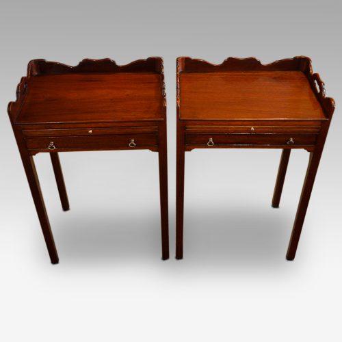 Pair of mahogany tray top bedside tables 2