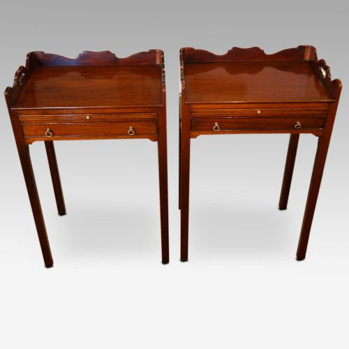 Pair of mahogany tray top bedside tables